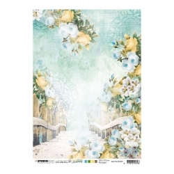 Studio Light • New awakening rijstpapier Brug & trappen met bloemen nr.01