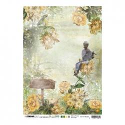 Studio Light • New awakening rijstpapier Figuur met fluit, bloemen, bord nr.03