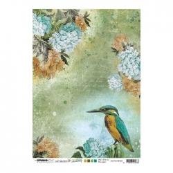 Studio Light • New awakening rijstpapier Ijsvogel, bloemen nr.05