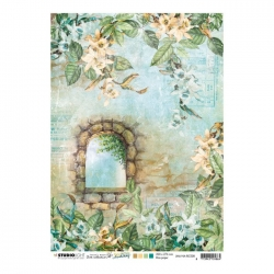 Studio Light • New awakening rijstpapier Stenen raam, orchideeën nr.08