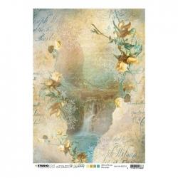 Studio Light • New awakening rijstpapier Waterval, stenen, bloemen nr.10