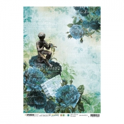 Studio Light • New awakening rijstpapier Rozen, figuur met fluit, kaartje nr.11