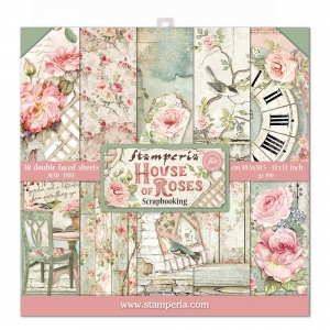 Stamperia House of Roses 12x12 Inch Paper Pack