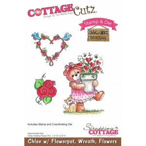 Scrapping Cottage CottageCutz Chloe with Flowerpot, Wreath & FLowers