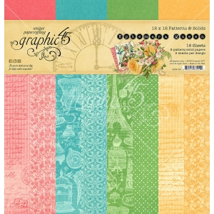 Graphic 45 Ephemera Queen 12x12 Inch Patterns & Solids Paper Pad