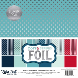 Echo Park Winter Silver Foil Dots & Stripes 12x12 Inch Combo Collection Kit