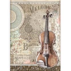 Stamperia Rice Paper A4 Passion Violin per stuk