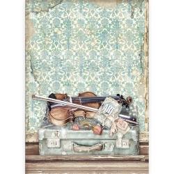 Stamperia Rice Paper A4 Passion Violin and Travelling per stuk