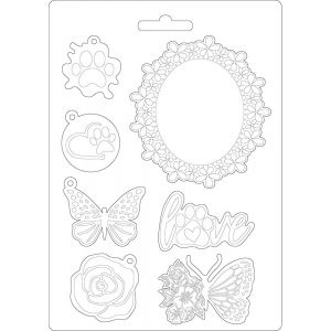 Stamperia Soft Mould A5 Circle of Love Frame and Butterfly