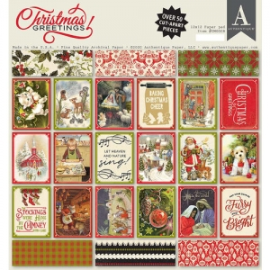 Authentique Christmas Greetings 12x12  Inch Paper Pad