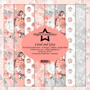 Paper Favourites Coral and Grey 12x12 Inch Paper Pack