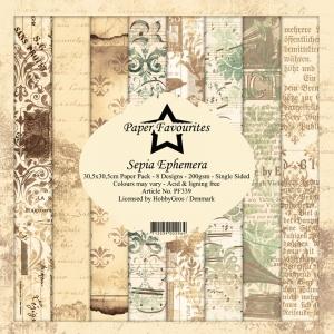 Paper Favourites Sepia Ephemera 12x12 Inch Paper Pack