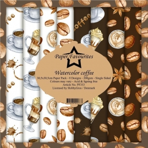 Paper Favourites Watercolor Coffee 12x12 Inch Paper Pack