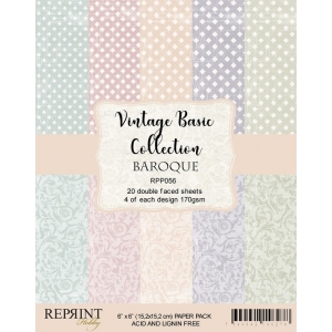 Reprint Vintage Basic Collection Damask 6x6 Inch Paper Pack