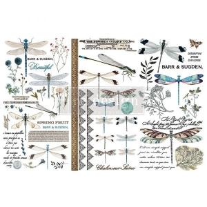 Re-Design with Prima Spring Dragonfly 6x12 Inch Decor Transfers