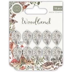 Craft Consortium Woodland Metal Charms Silver Leaf