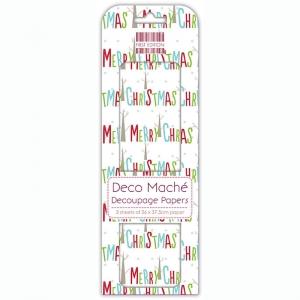 First Edition FSC Deco Mache Merry Christmas Multi