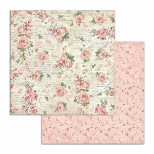 Stamperia Pink Christmas Rose Wallpaper 12x12 Inch Paper Sheets