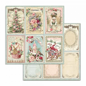 Stamperia Pink Christmas Cards 12x12 Inch Paper Sheets