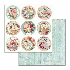 Stamperia Pink Christmas Rounds 12x12 Inch Paper Sheets per vel