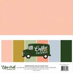 Echo Park Coffee & Friends 12x12 Inch Coordinating Solids Paper Pack