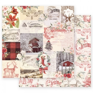 Prima Marketing Christmas In The Country 12x12 Inch Sheets Compliments of the Season  10 sts