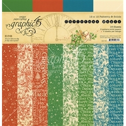 """Graphic 45 - Christmas Magic  12x12"""" Patterns & Solids Pad"""