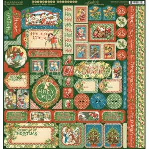 Graphic 45 Christmas Magic 12x12 Inch Cardstock Stickers
