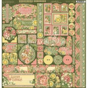 Graphic 45 Garden Goddess 12x12 Inch Cardstock Stickers