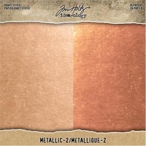 Idea-ology Tim Holtz Kraft-Stock 8x8 Inch Metallic 2 Rose Gold & Copper
