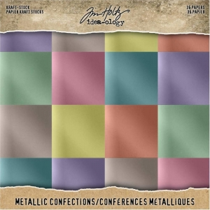 Idea-ology Tim Holtz Kraft-Stock 8x8 Inch Metallic Confections