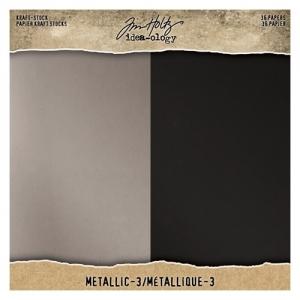 Idea-ology Tim Holtz Kraft-Stock 8x8 Inch Paper Stash Metallic 3
