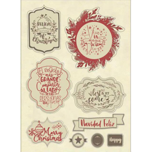 Stamperia Colored Wooden Frame A6 Christmas Label