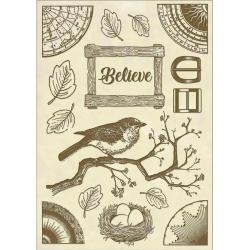 Stamperia Wooden Shape A5 Cosmos Believe Bird