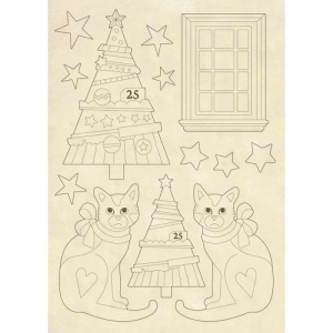 Stamperia Wooden Shape A5 Trees & Cats