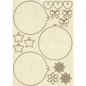 Stamperia Wooden Shapes A5 Christmas Spheres