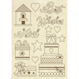 Stamperia Wooden Shapes A5 Best Wishes Noel