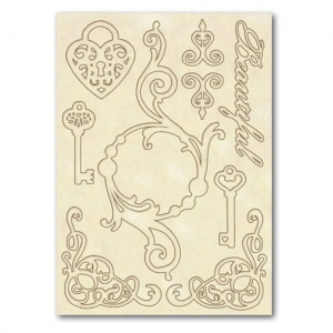 Stamperia Wooden Shapes A5 Keys & Hearts