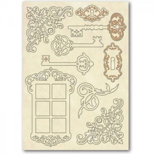 Stamperia Wooden Shapes A5 Keys & Window