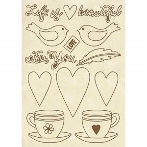 Stamperia Wooden Shapes A5 Life is Beautiful